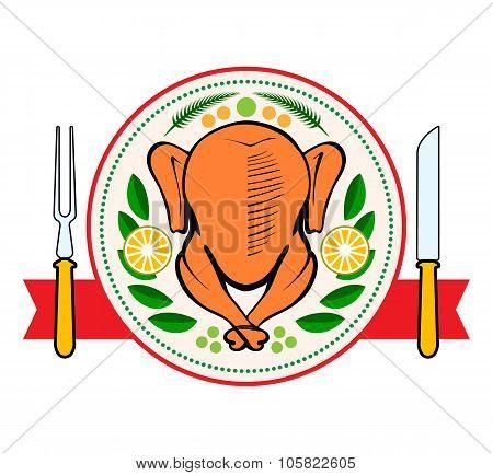 Roasted Turkey Symbol Isolated Vector Illustration