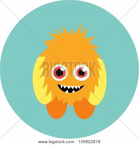 Cartoon cute monster alien. Vector illustration