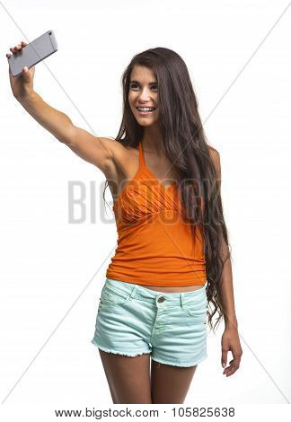Beautiful lady is having fun on white background.