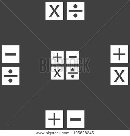 Multiplication, Division, Plus, Minus Icon Math Symbol Mathematics. Seamless Pattern On A Gray Backg