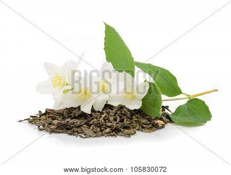 Jasmine Tea With Jasmine Flowers On White