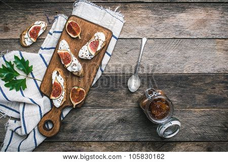 Bruschetta Snacks With Jam And Figs Rustic Style