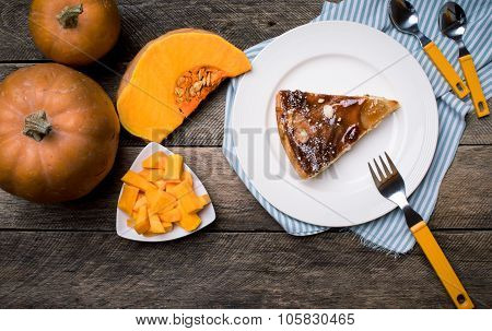 Lunch Piece Of Pie Pumpkin Slices In Rustic Style