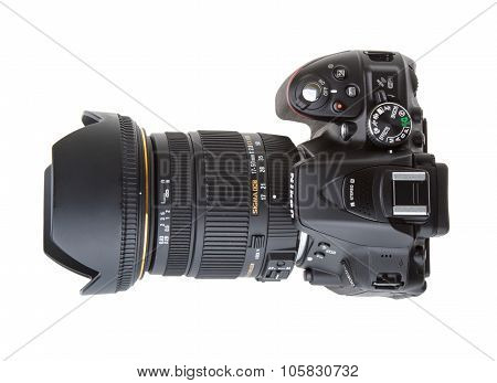 Kyiv, Ukraine - June 19, 2015: Nikon D5300 Camera With Sigma 17-50Mm F2.8 Lens On White Background