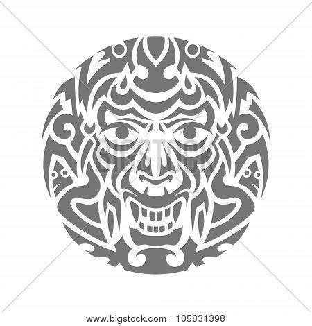 Evil face tribal tattoo ornament vector