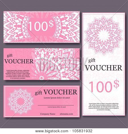 Gift voucher template with mandala. Design certificate for sport center, magazine or etc. Vector gif