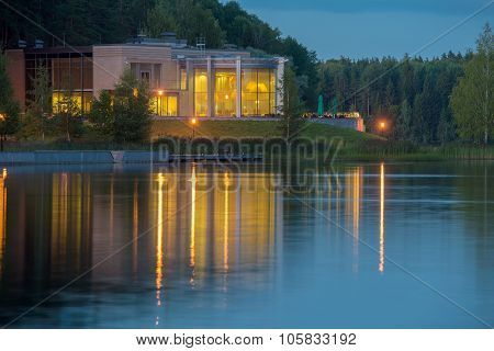 Night View Of The Lake Late Summer Evening