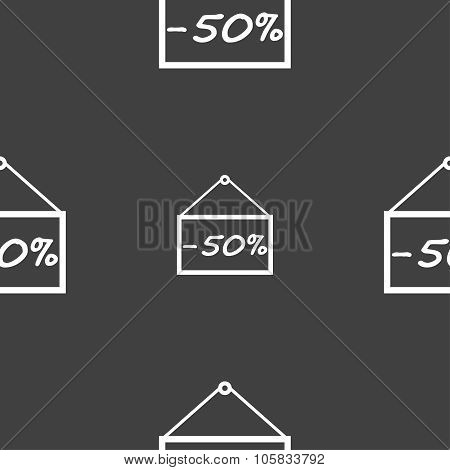 50 Discount Icon Sign. Seamless Pattern On A Gray Background. Vector