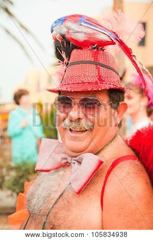 Corralejo - March 17: Dressed-up Grey Haired Participant At Grand Carnival Parade, March 17, 2012 In