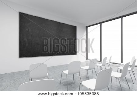 A Classroom Or Presentation Room In A Modern University Or Fancy Office. White Chairs, Panoramic Win
