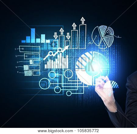 Close Up Of Woman's Hand Which Is Pushing Out The Element On The Hologram With Business Icons. Dark