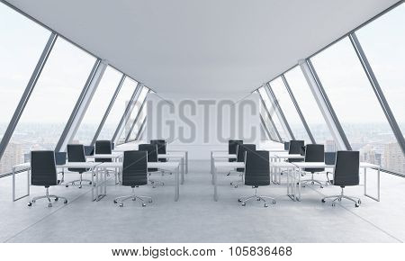 Workplaces In A Bright Modern Open Space Loft Office. White Tables And Black Chairs. New York Panora