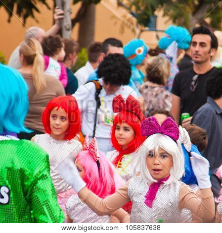 Corralejo - March 17: Group Of Primary School Age  Kids Takes Part In Grand Carnival Parade, March 1