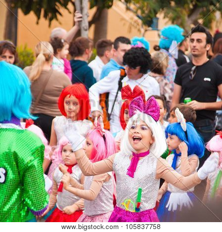 Corralejo - March 17:group Of Primary School Age  Kids Takes Part In Grand Carnival Parade, March 17