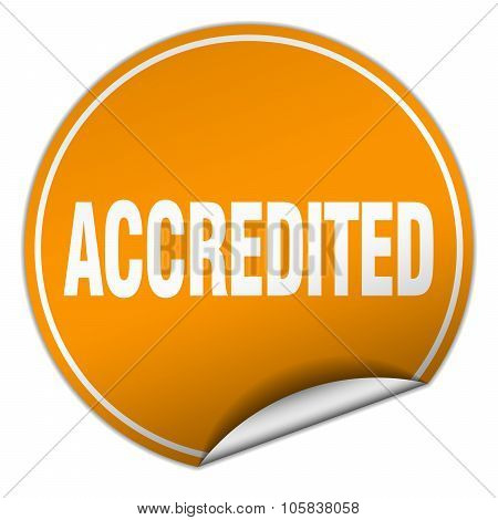 Accredited Round Orange Sticker Isolated On White