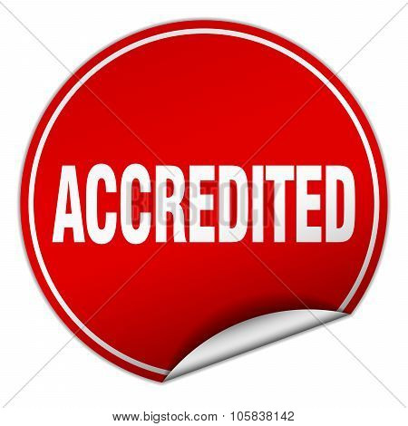 Accredited Round Red Sticker Isolated On White