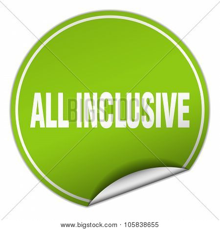 All Inclusive Round Green Sticker Isolated On White