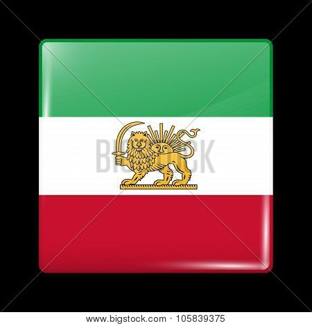 Variant Flag Of Iran With Lion And Sun Emblem. Glassy Icon Square Shape