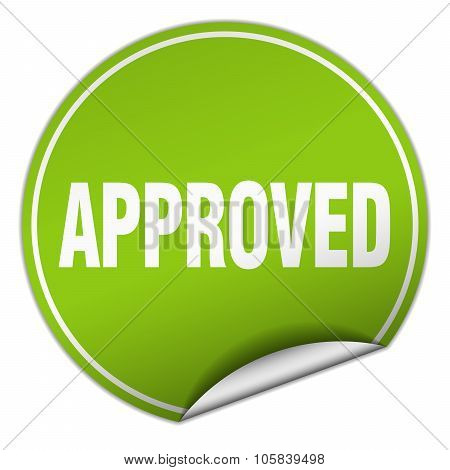 Approved Round Green Sticker Isolated On White