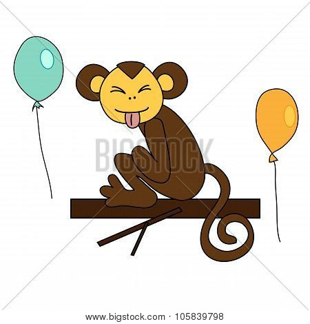 Funny Brown Monkey Sitting