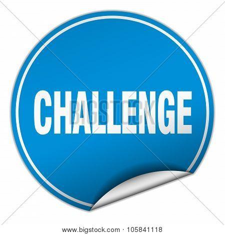 Challenge Round Blue Sticker Isolated On White