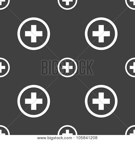 Plus Sign Icon. Positive Symbol. Zoom In. Seamless Pattern On A Gray Background. Vector