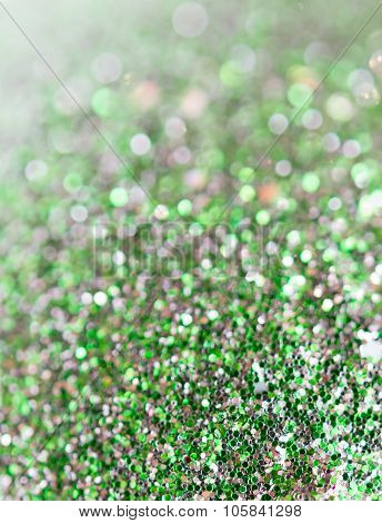Holiday Abstract Green Glitter Background With Blinking Stars