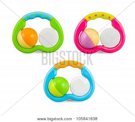 Three Colorfull Baby Rattle - Isolated On White