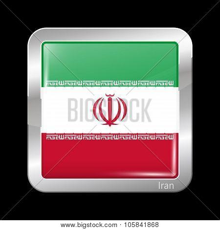 Flag Of Iran. Metallic Icon Square Shape