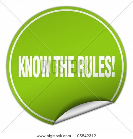 Know The Rules! Round Green Sticker Isolated On White