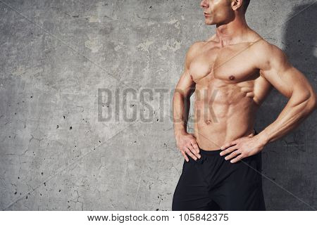 Muscular Fitness Model, Male Half Body Man No Shirt