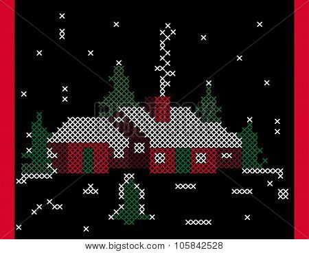 Nordic winter scene rural  needlepoint effect