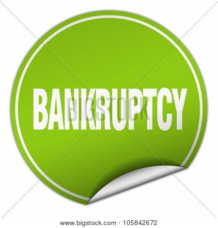 Bankruptcy Round Green Sticker Isolated On White