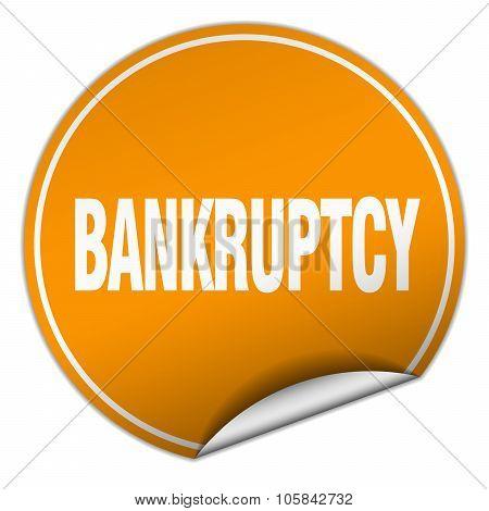 Bankruptcy Round Orange Sticker Isolated On White