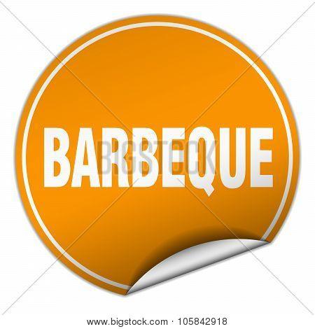 Barbeque Round Orange Sticker Isolated On White