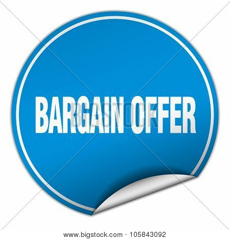 Bargain Offer Round Blue Sticker Isolated On White