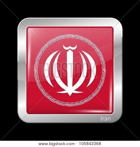 Iran Variant Emblems. Metallic Icon Square Shape