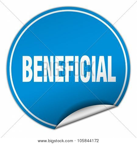 Beneficial Round Blue Sticker Isolated On White