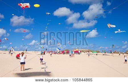 Fuerteventura, Spain - November 09: Schoolkids Fly Little Pink Kites Ar A Workshop At 25Th Internati