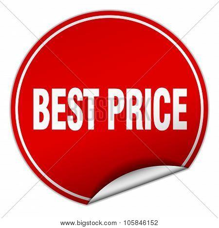 Best Price Round Red Sticker Isolated On White