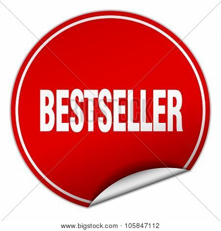 Bestseller Round Red Sticker Isolated On White