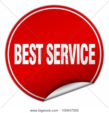 Best Service Round Red Sticker Isolated On White