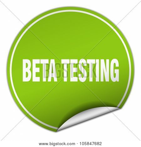 Beta Testing Round Green Sticker Isolated On White