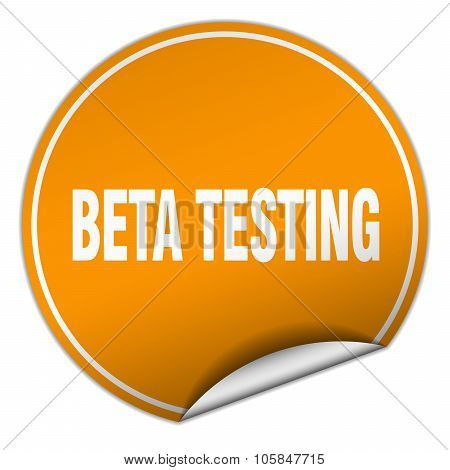 Beta Testing Round Orange Sticker Isolated On White