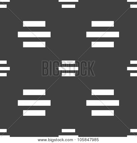 Center Alignment Icon Sign. Seamless Pattern On A Gray Background. Vector