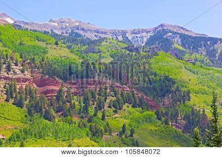 Mountains and hillsides near Telluride Colorado USA.