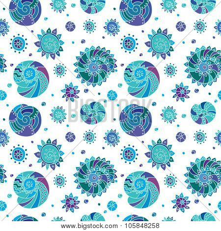 Decorative seamless background pattern with contour drawing of shells. Textile and wallpaper sea background. Vector illustration