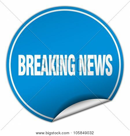 Breaking News Round Blue Sticker Isolated On White