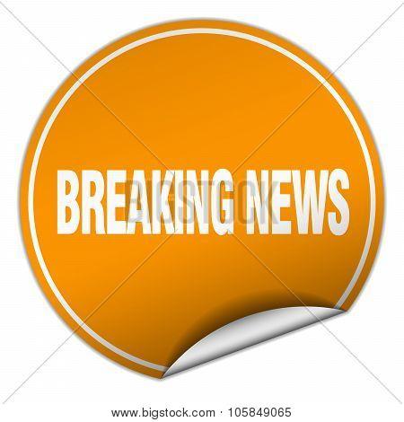 Breaking News Round Orange Sticker Isolated On White