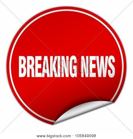 Breaking News Round Red Sticker Isolated On White